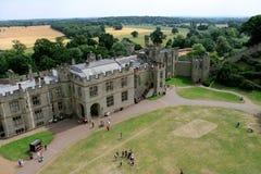 城堡地面有乡下视图 免版税库存照片