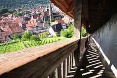 从城堡城镇的埃斯林根视图在斯图加特, Baden附近 库存图片