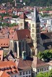 从城堡城镇的埃斯林根视图在斯图加特, Baden附近 库存照片