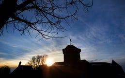 城堡城镇solingen德国在晚上 库存照片