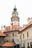 城堡塔捷克克鲁姆洛夫 免版税库存图片