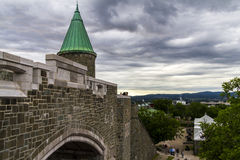 城堡墙壁在魁北克市 库存照片