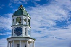 城堡小山的哈利法克斯尖沙咀钟楼在新斯科舍,加拿大 免版税库存照片