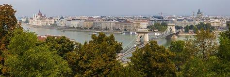 从城堡小山的布达佩斯全景 免版税库存照片
