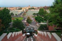 城堡小山缆索铁路在布达佩斯匈牙利 库存图片