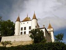 城堡尼翁瑞士白色 免版税库存照片