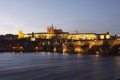 城堡布拉格日落 免版税库存图片