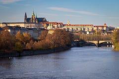 城堡布拉格河vltava 库存照片
