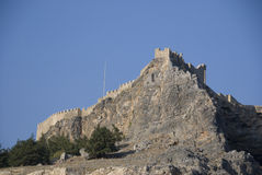 城堡希腊lindos 库存照片