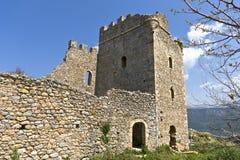 城堡希腊mani zarnata 免版税库存照片