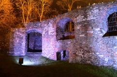 城堡废墟在晚上 库存照片