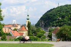 从城堡庭院的布达佩斯风景 免版税图库摄影