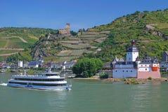 城堡德国kaub莱茵河谷 图库摄影