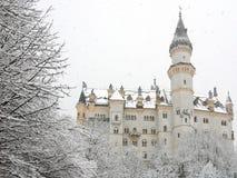 城堡德国neuschwanstein冬天 图库摄影