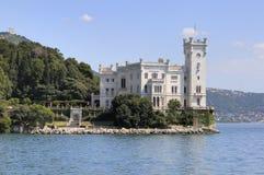 城堡意大利miramare的里雅斯特 免版税库存照片