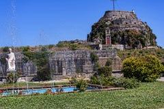 城堡或老堡垒在科孚岛希腊海岛上的科孚岛镇  免版税图库摄影