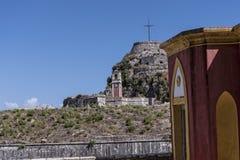 城堡或老堡垒在科孚岛希腊海岛上的科孚岛镇  免版税库存图片