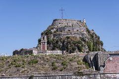 城堡或老堡垒在科孚岛希腊海岛上的科孚岛镇  库存照片