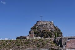 城堡或老堡垒在科孚岛希腊海岛上的科孚岛镇  库存图片