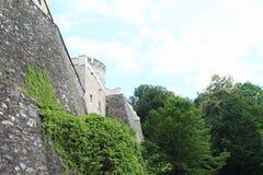 城堡捷克施滕贝格墙壁  库存图片