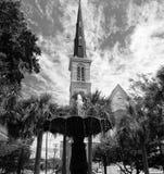 城堡方形的施洗约翰教堂在查尔斯顿,南卡罗来纳 免版税库存图片