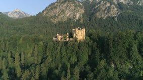 城堡日落Hohenschwangau巴伐利亚空中4k 股票录像