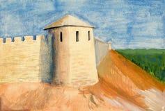 城堡树胶水彩画颜料绘画 免版税库存照片