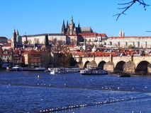 城堡欧洲老照片布拉格河旅行vltava 免版税图库摄影