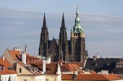 城堡欧洲老照片布拉格河旅行vltava 圣Vitus大教堂从Strahov修道院观察台的  布拉格 cesky捷克krumlov中世纪老共和国城镇视图 免版税库存图片