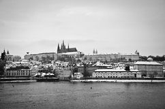 城堡欧洲老照片布拉格河旅行vltava 库存图片