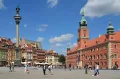 城堡正方形、Sigismund的专栏和皇家城堡在华沙,波兰 库存照片