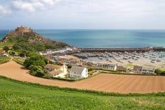城堡泽西mont orgueil英国 库存图片