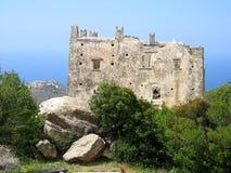 城堡海岛naxos 库存照片