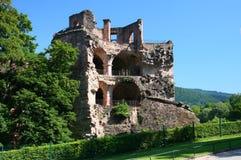城堡海得尔堡被破坏的塔 库存照片