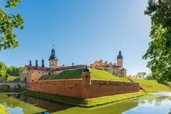 城堡涅斯维日的看法在白俄罗斯 免版税库存图片