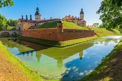 城堡涅斯维日的美好的明信片视图在白俄罗斯 库存照片