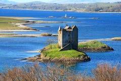 城堡潜随猎物者海湾Linnhe,苏格兰 库存图片