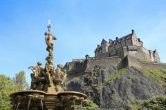 城堡爱丁堡喷泉罗斯・苏格兰 库存照片
