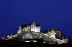 城堡爱丁堡晚上射击 图库摄影