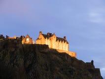 城堡爱丁堡晚上 库存图片