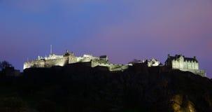 城堡爱丁堡晚上 免版税库存照片