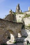 城堡的废墟在Durnstein中世纪村庄  免版税库存图片