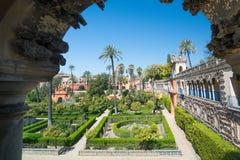 城堡的庭院,塞维利亚,安达卢西亚,西班牙 免版税库存图片