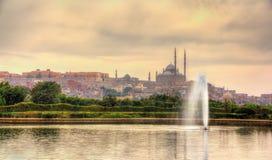 城堡的看法有穆罕默德・阿里清真寺的从艾资哈尔公园 库存照片