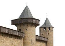 城堡空白查出的中世纪的塔 免版税库存照片