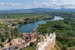 城堡米拉韦在卡塔龙尼亚,西班牙 免版税图库摄影