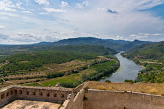 城堡米拉韦在卡塔龙尼亚,西班牙 库存照片