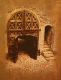 城堡给老装门 免版税库存图片