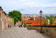 城堡老布拉格楼梯 免版税库存图片