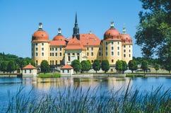 城堡莫里茨堡在德累斯顿附近的萨克森 与有些芦苇的池塘反射在前景 春天 德国 免版税图库摄影